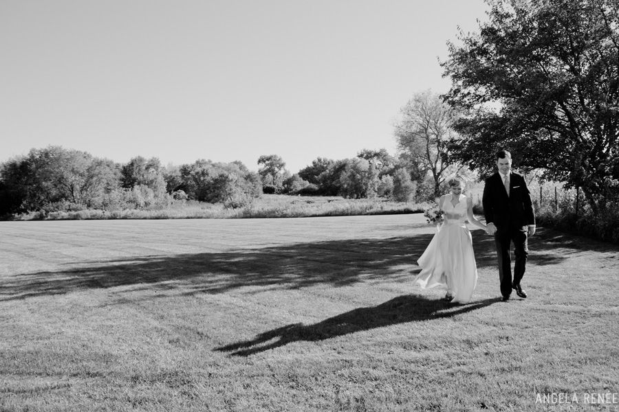 bride and groom in a field illinois