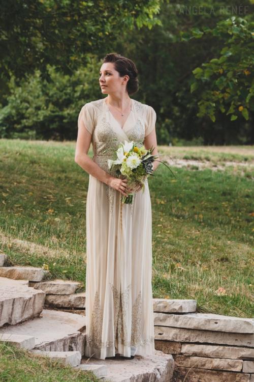 Beaded Gold Vintage Wedding Dress