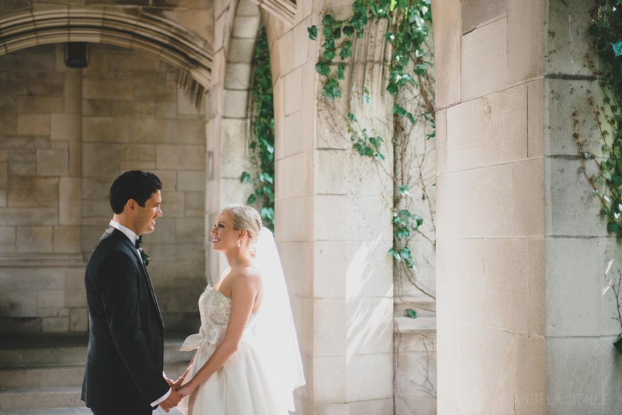 Fourth Presbytarian Church Michigan Avenue Courtyard Bridal Portraits, Natural Light