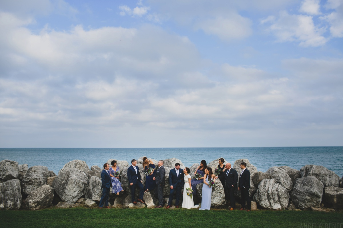 bridal party photo at lake michigan