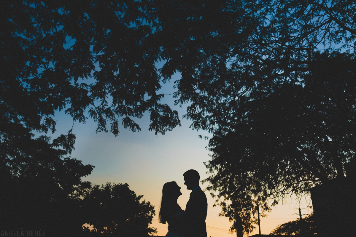 sunset wedding day photo